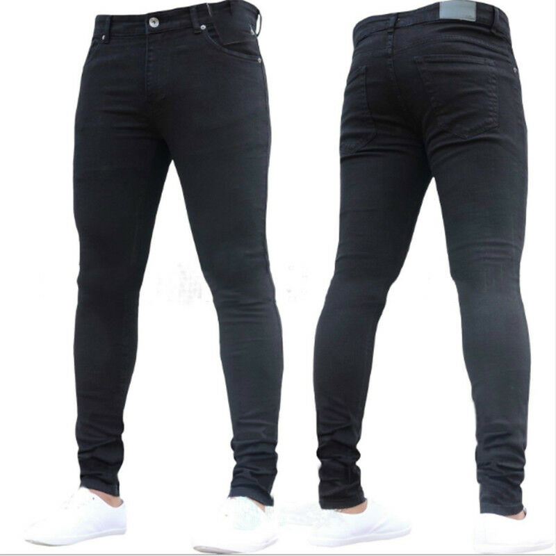 df48d609b84 Mens Stretch Elastic Washed Denim Jeans Slim Fit Straight Leg Skinny  Trousers 6 6 of 6 See More