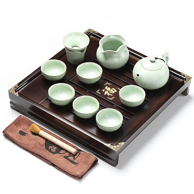 Chinese tea set with tea tray pot cups solid wood tea table with plastic layer 7