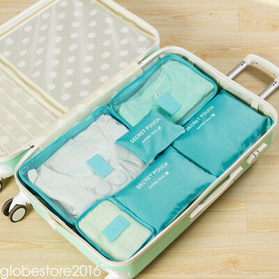 6pcs Travel Bags Waterproof Clothes Storage Luggage Organizer Pouch Packing Cube 10