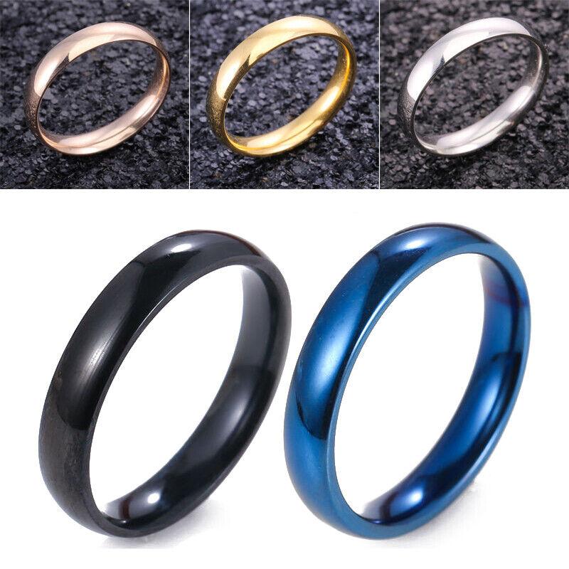 Hombre Mujer De Acero Inoxidable brillante espejo pulido anillo de bodas 5-13 2