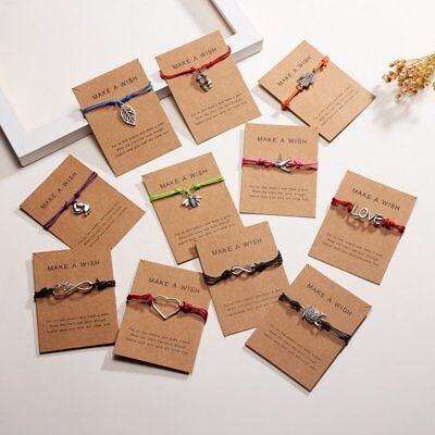 Wish String Charm Adjustable Bracelet 'Make A Wish' Friendship Heart Gift Card 2