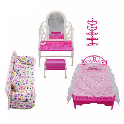 Barbies Dolls Pink Bed Dressing Table & Chair Set Bedroom Furniture Play House 2