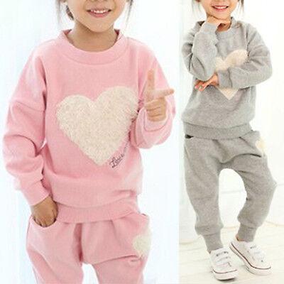 62a6046ce 2PCS KIDS BABY Girls Tracksuit Long Sleeve Tops T-shirts + Pants ...