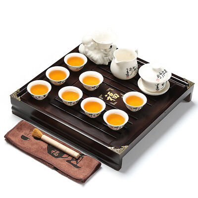 Chinese tea set with tea tray pot cups solid wood tea table with plastic layer 3