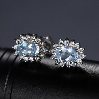 Jewelrypalace Diana Kate 5.8ct Natural Blue Topaz Jewelry Set 925 SterlingSilver