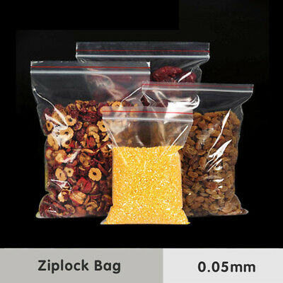 100 Grip Resealable Zip Lock Bags Self Seal Clear Plastic Poly Ziplock Bag 9Size 8