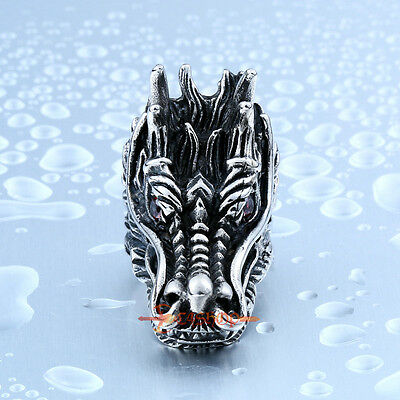 d325b3874 ... Large Vintage Stainless Steel 3D Chinese Dragon Head Red CZ Eye Biker  Ring 2