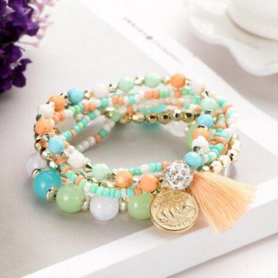 6Pcs/Set New Women Ethnic Boho Multilayer Tassel Beads Bracelet Bangle Jewelry 4