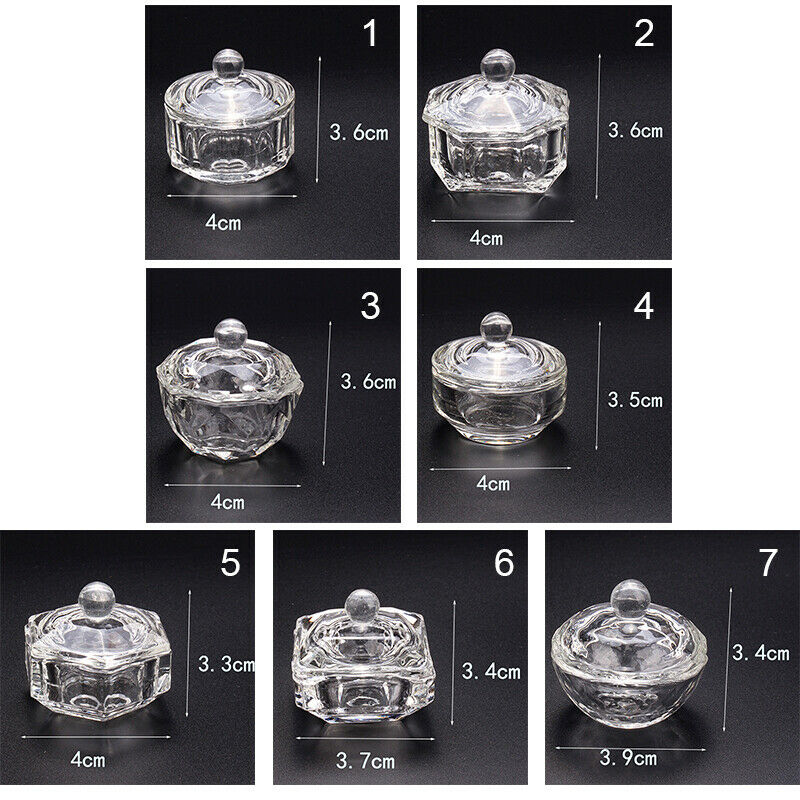 Crystal Glass Cup Acrylic Nail Powder Liquid Container Bowl Dish Nail Art Tool 4
