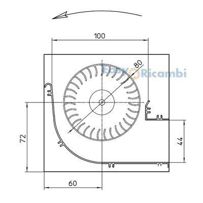 VENTOLA TANGENZIALE per stufa a pellet  TGA 80//1-270//35 EMMEVI FERGAS 158201