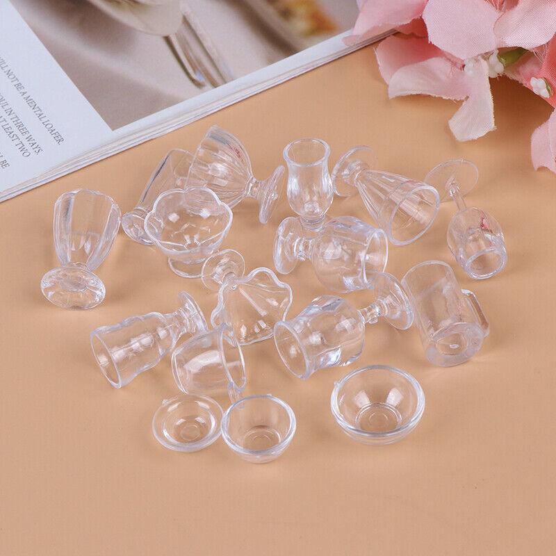17Pcs/Set 1:12 Dollhouse Miniature Transparent Tableware DIY Kitchenware Toys 9