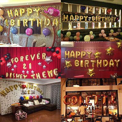 Gold Alphabet Letters Balloons Happy Birthday Party Decoration Aluminum Foil 3