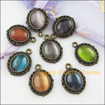 8Pcs Mixed Retro Antiqued Bronze Cat Eye Stone Oval Charms Pendants 13.5x18mm 2