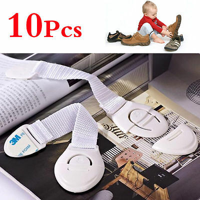 10Pc Baby Kids Child Adhesive Safety Lock For Cabinet Door Drawers Refrigerator~ 5