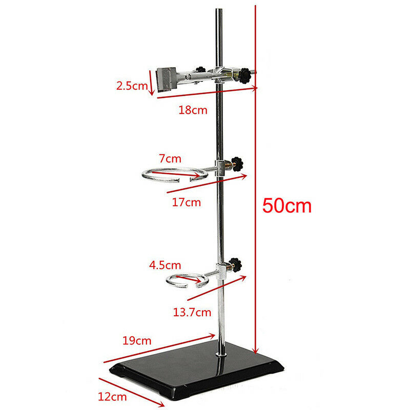 50Cm Chemistry Laboratory Retort Base Stand Support Lab Fla Clamp+3 Ring Clamp I