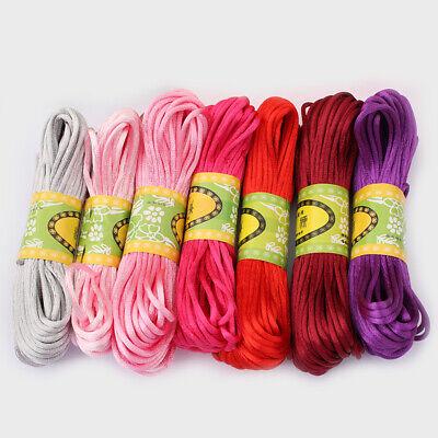 20 Meters 2mm Rattail Satin Silk Cord Nylon Macrame Beading kumihimo String 3