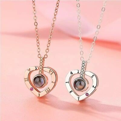 I LOVE YOU in 100 Languages Light Projection Heart Necklace Girlfriend Couple 2