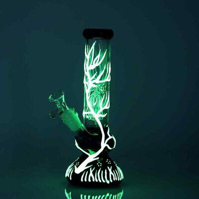 "Glow in the Dark Hookah Water Pipe Bong Glass Bongs 10"" 4"