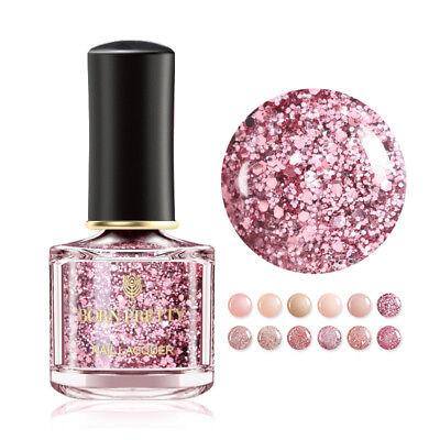 BORN PRETTY 6ml Glitter Nail Polish Rose Gold Pink  Sequins Nail Art Varnish 8