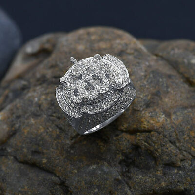 Mens 10K Real White Gold Over Pure Silver Lab Diamonds Islamic Allah Pinky Ring 3