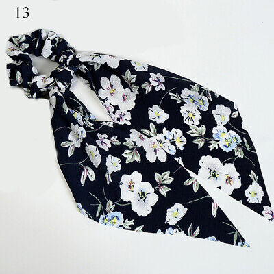 Simple Dot Stripes Floral Scrunchie Bow Streamers Hair Ties Ponytail Hair Ropes 12