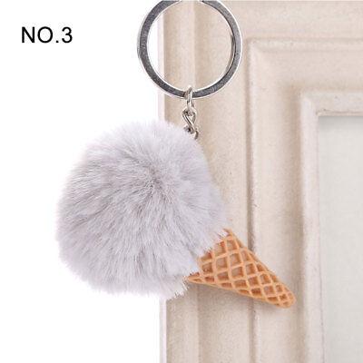 1PC Pendant Imitation Hairball Keychain Ice Cream Cute Fashion Bag Keyring 5