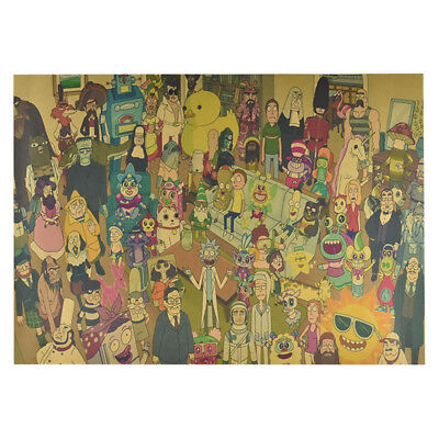 Classic Anime Rick And Morty The Last Supper Kraft paper Poster Cafe Decoration 7