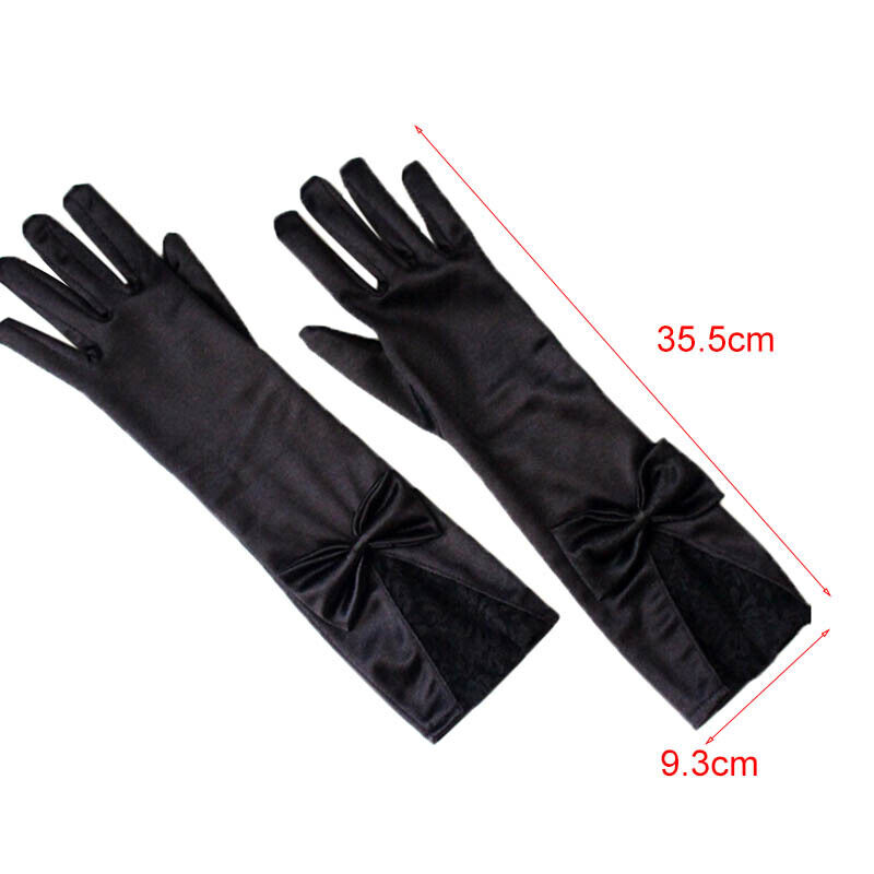 Women Black Lace Patchwork Satin Gloves Bowknot Sexy Clubwear Party Dance G RAS 6