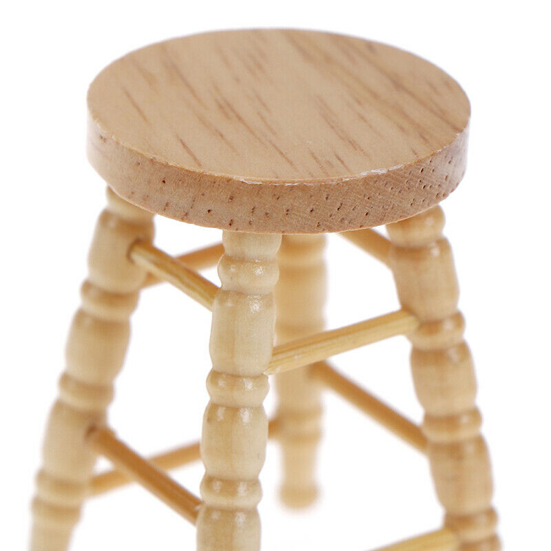 1/12 Dollhouse miniature wooden stool chair furniture accessories.decoration BF 7