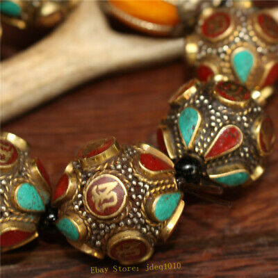 """4.72"""" Chinese Exquisite pure copper Turquoise Beeswax Handmade beads Bracelet 4"""