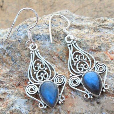 Silver Plated Vintage Turquoise Dangle Ear Hook Boho Hoop Women Jewelry Earrings 9