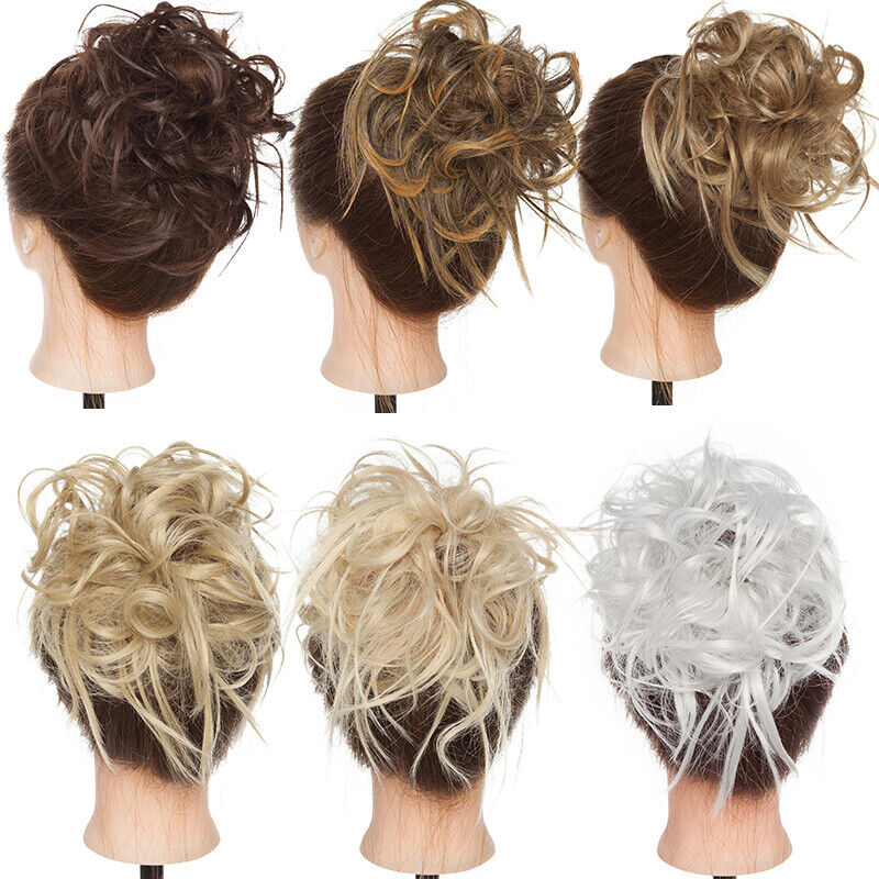 UK Large Thick Messy Bun Scrunchie Updo Wrap on Hair Extension Hair Piece Blonde 5
