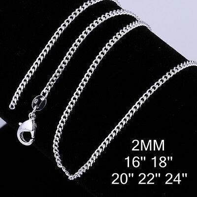Wholesale New 925 Sterling Silver Filled 2mm Classic Chain Necklace For Pendants 2