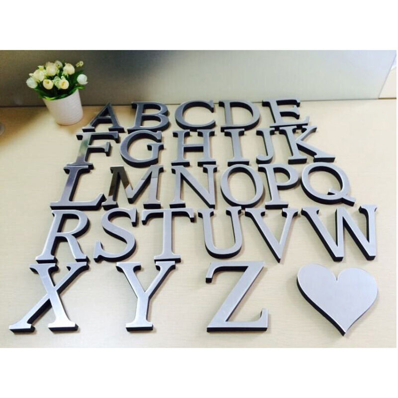 1 Of 12free 26 Letters Diy 3d Mirror Acrylic Wall Sticker Decals Home Decor Art Mural