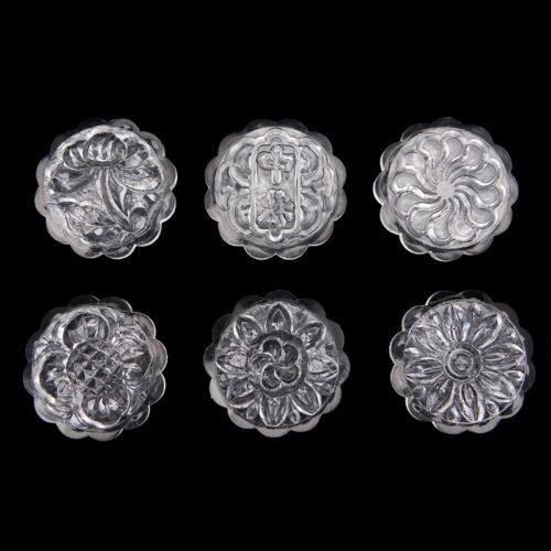 6 Flower Stamps Moon Cake Mould 50g Transparent Round Mooncake Mold Baking Decor 10