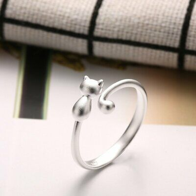 Fashion Lovely Cat Kitten Women Lady Jewelry Opening Adjustable Ring Party Gift 3
