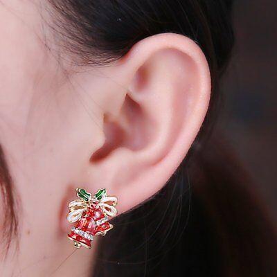 Fashion Women Christmas Earrings Enamel Crystal Drop Dangle Ear Stud Ear Hook 11