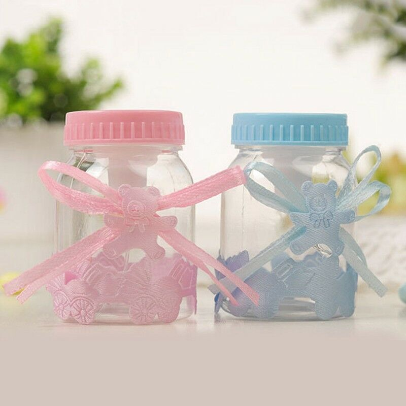 24X Fillable Bottles Candy Box Baby Shower Baptism Party Christening UK 3