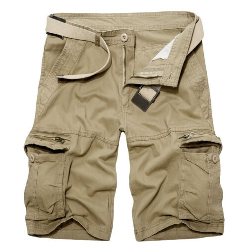 Mens Army Cargo Shorts Work Camping Fishing Camouflage Outdoor Pants Trousers 8