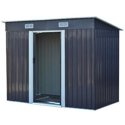 Metal Garden Shed 8x4ft Outdoor Tool Storage Sliding Door with Base Store Steel