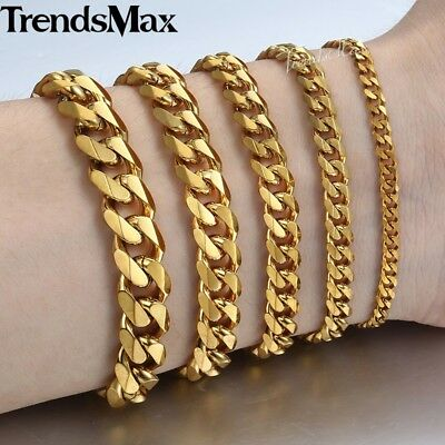 Men 3/5/7/9/11mm 18-36 inch Gold Cuban Link Chain Necklaces Stainless Steel 5