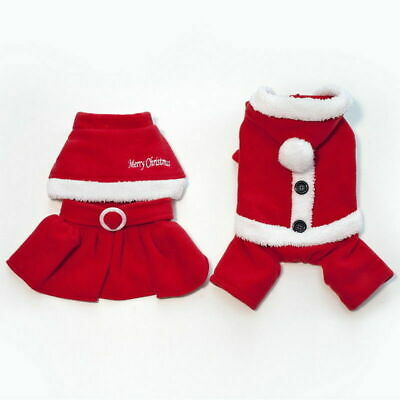 Cute Dog Puppy Christmas Santa Warm Costumes Coat Clothes Pet Apparel Shirt 8