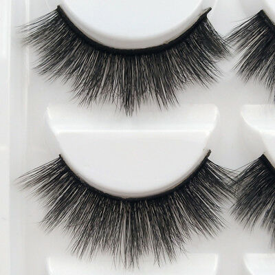 3D 5 Pairs Mink Natural Thick False Fake Eyelashes Eye Lashes Makeup Extension 9