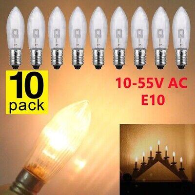 10x LED 0,2W E10 10-55V Topkerzen Riffelkerzen Spitzkerzen Ersatz Lichterkette E 2