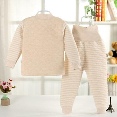 Boys Girls Infant Cotton Long Thermal Underwear Set Base Layer High Waist Thick 2