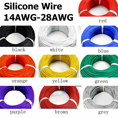 16 18 20 ~ 28AWG Silicone Wire Cable Copper Line Tinned Flexible Stranded 5M 10M 2