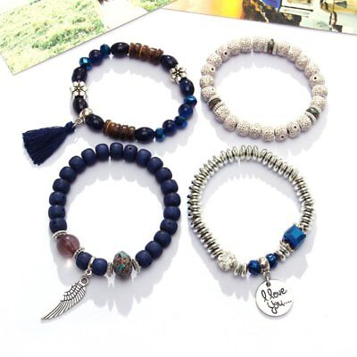 4Pcs I Love You Multilayer Natural Stone Crystal Bangle Beaded Bracelet Jewelry 5