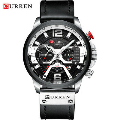 CURREN Casual Sport Watches for Men Blue Top Brand Luxury Military Leather Wrist 2