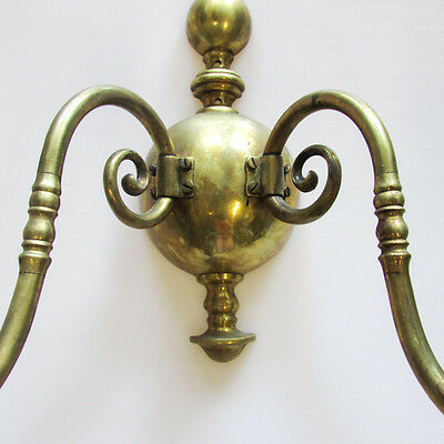 A Pair of Vintage Gilt Metal Wall Sconces Two-Light Candlestick Holders 5