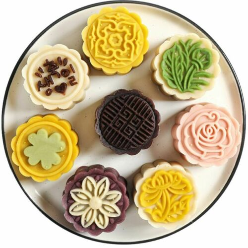 6 Flowers STAMPS Round Pastry Moon Cake Mold 50g Mould Cookies Mooncake Decor 2